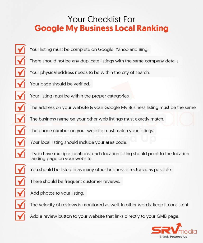 Checklist for google my business local ranking